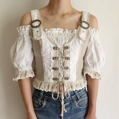 Euro Vintage Off Shoulder Short Blouse