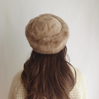 beige fake fur hat