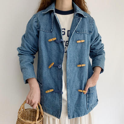 90's Wooden Toggle Button Denim Jacket