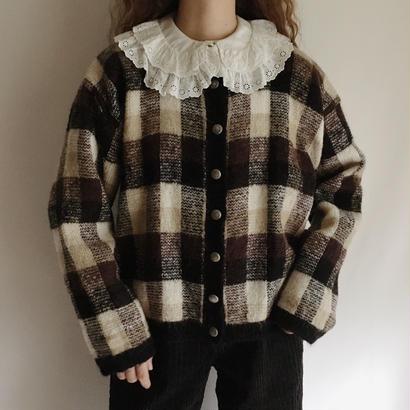 Euro Vintage Big Plaid Knit Cardigan