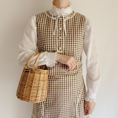 USA 60's - 70's Ginghamcheck Sleeveless Dress