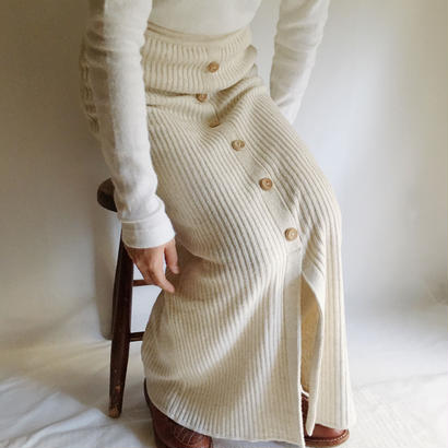 Euro Vintage Front Button Long Skirt