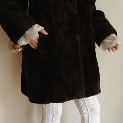 70's eurovintage fake fur A line coat