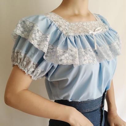 Light Blue Lace × Frill Volume Sleeve Blouse