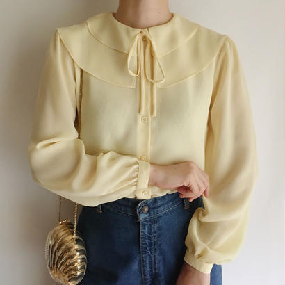Euro Vintage Pale Yellow double collar sheer blouse