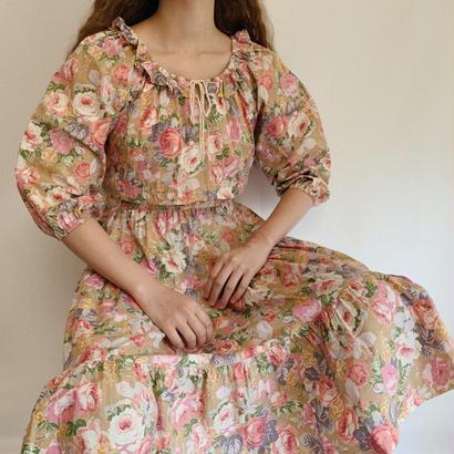 80's USA Floral Print Tiared Dress