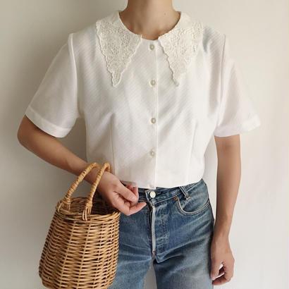 Euro Vintage Lace Collar Short Sleeve Blouse
