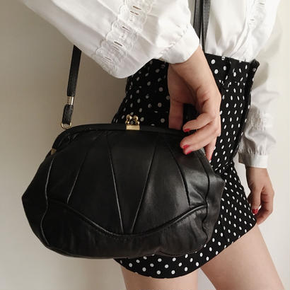 Euro Vintage  Black leather shoulder bag