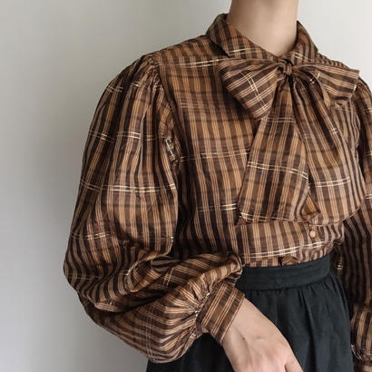 Euro Vintage Plaid  Big Ribbon Tie Volume Sleeve Blouse
