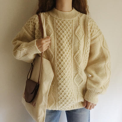 Euro Vintage Moc Neck Fisherman Cable Knit Sweater