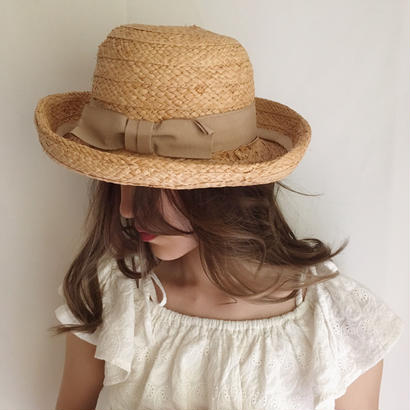 【lightbeige】ITALY ribbon straw hat