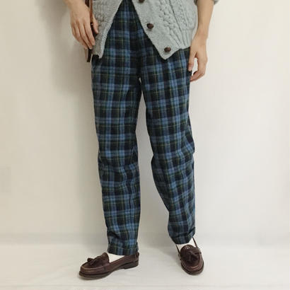 Euro Vintage Plaid Two Tuck Tapered Pants