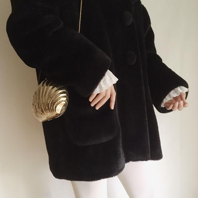 80's black fake fur volume coat