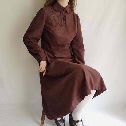 Euro Vintage Round Collar Flare Midi Dress
