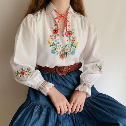 Euro Vintage Flower Hand Embroidery Folk Tunic