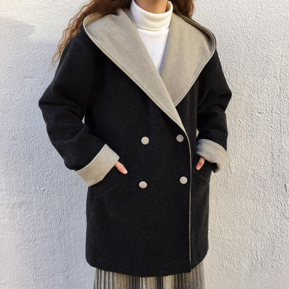 French 80's - 90's Hooded Double Button Wool Coat