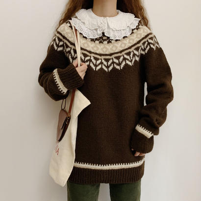 Euro Vintage Dark Brown Nordic Knit Sweater