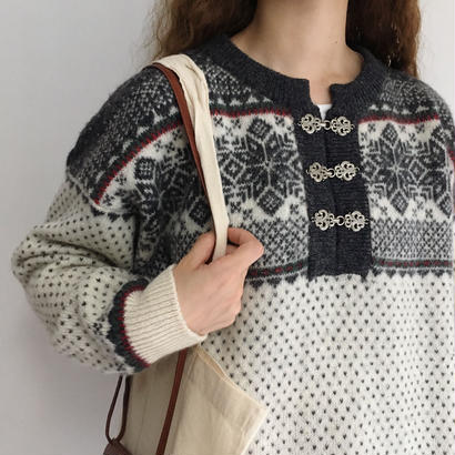 Euro Vintage Over Silhouette Nordic Knit Sweater