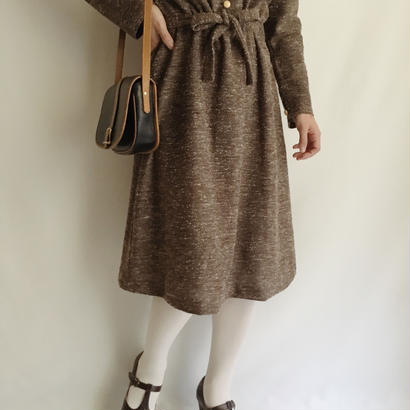Euro Vintage Brown Nep Flare Dress