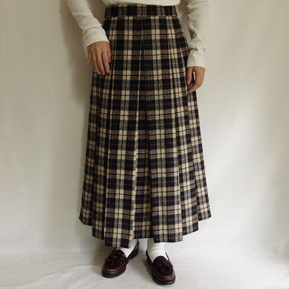Euro Vintage Plaid  Long Flare Skirt