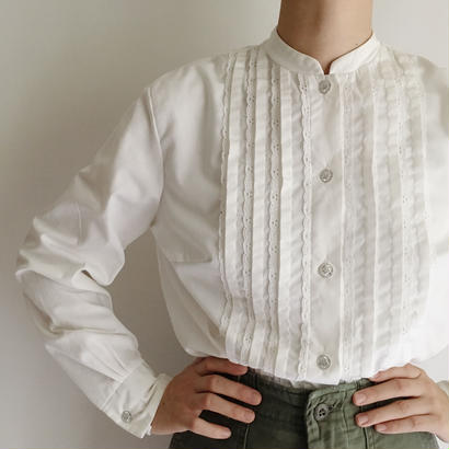 Euro Vintage Pleats Design Cotton Blouse
