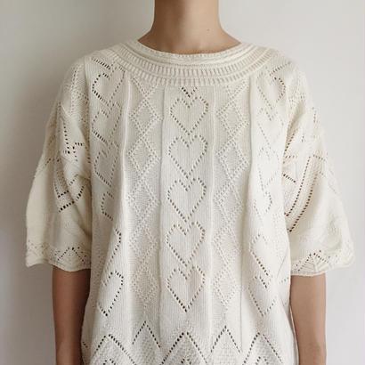 Euro Vintage Heart Motif Summer Knit Tee