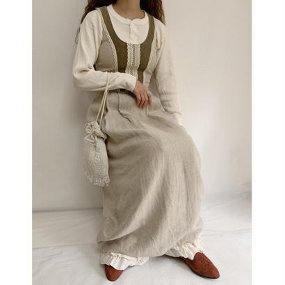 Euro Vintage  Dirndl Linen Long Dress
