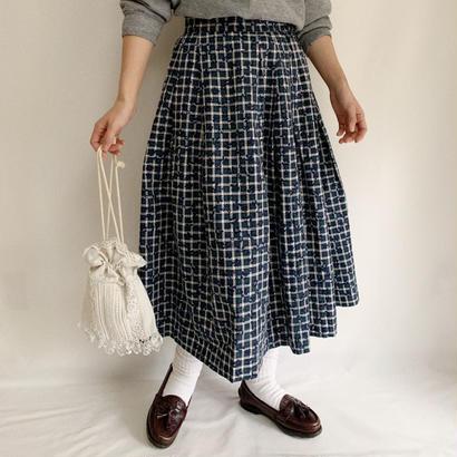 Euro  Vintage Check  Flower Print Volume Flare Skirt