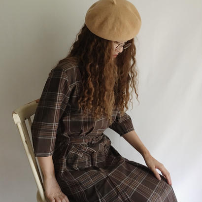 Euro Vintage Brown Plaid  Pleats Dress