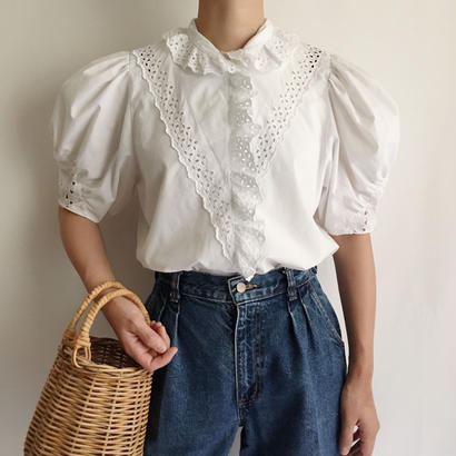 Euro Vintage Cut Work Lace Frill Blouse