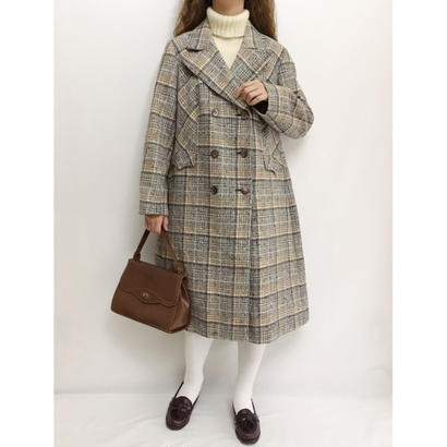 60's - 70's Euro Vintage Plaid  Double Button Aline Coat