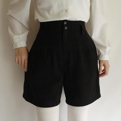 French Fabric Black Wool Short Pants