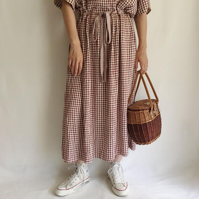 USA Gingham Check Waist Ribbon Long Dress
