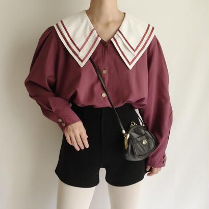 Burgundy Double Puritan Collar Blouse