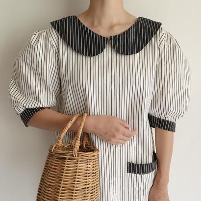Euro Vintage Round Collar Striped Dress