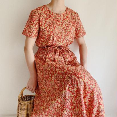 """ ORVIS "" Floral Print Waist Ribbon Cotton Long Dress"