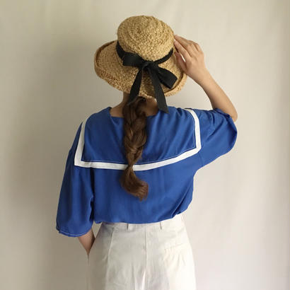 Blue × White Sailor Collar Over Silhouette Shirt