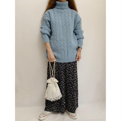 Euro Vintage Pale Blue Turtle Knit Sweater