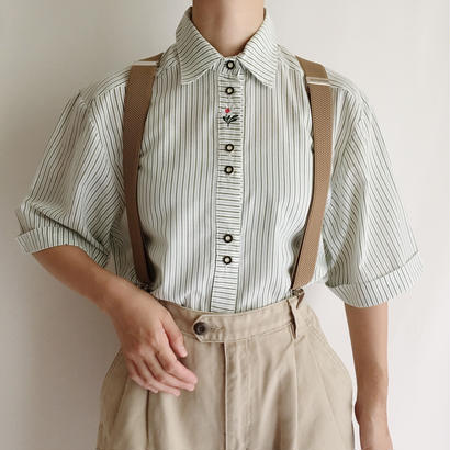 Euro Vintage Flower embroidery Striped Shirt
