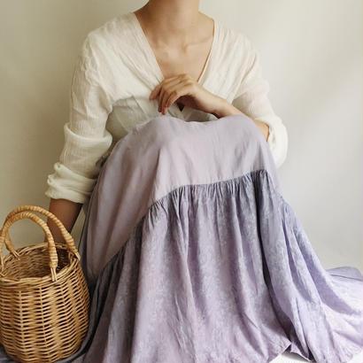 USA Ginghamcheck × Flower Tiared Flare Long Skirt