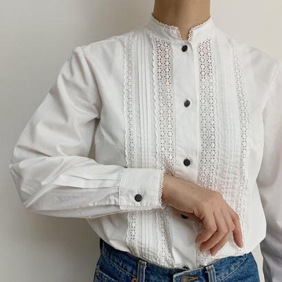Euro Vintage  White Cotton Cut Work Lace Blouse