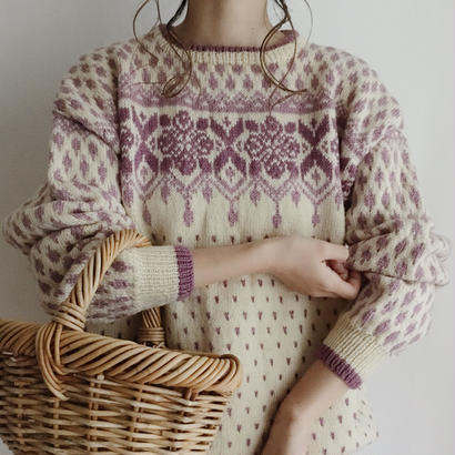 eurovintage lavender hand knit sweater