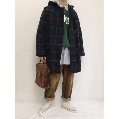 Euro Vintage Check Hooded Coat