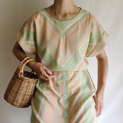 USA Light Green × Light Orange Bias Stripe Dress