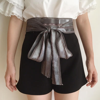 【silver gray 】satin ribbon belt