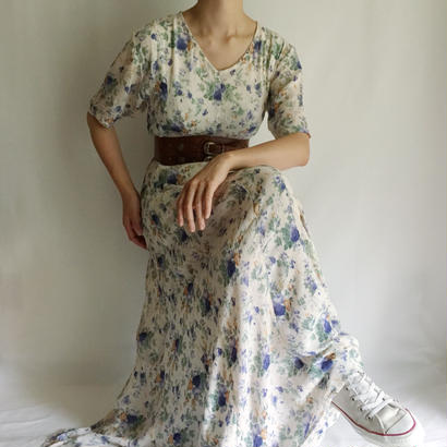 Euro Vintage Flower Print Long Dress
