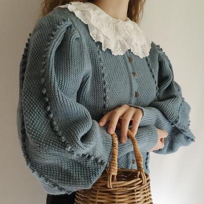 Euro Vintage Dusky Blue Popcorn Volume Sleeve Knit Cardigan