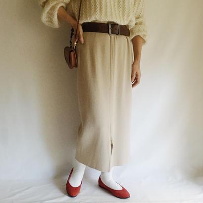 Euro Vintage Front Zip Long Knit Skirt
