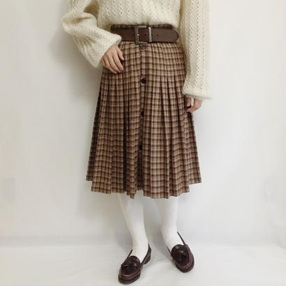 Euro Vintage Plaid Pleats Flare Skirt