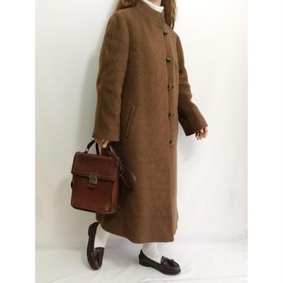 Euro Vintage Brown Mohair Mix Long Coat
